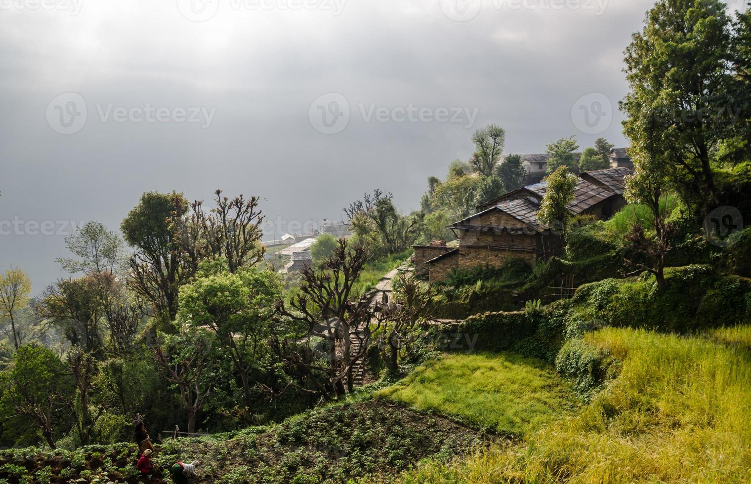 ghandruk bergdorp in pokhara, nepal foto