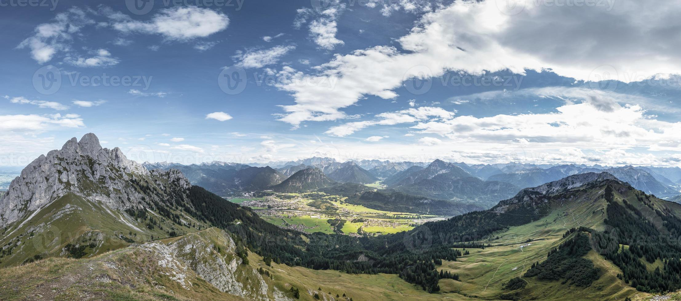 panorama from mountain hahnenkamm with view to reutte photo