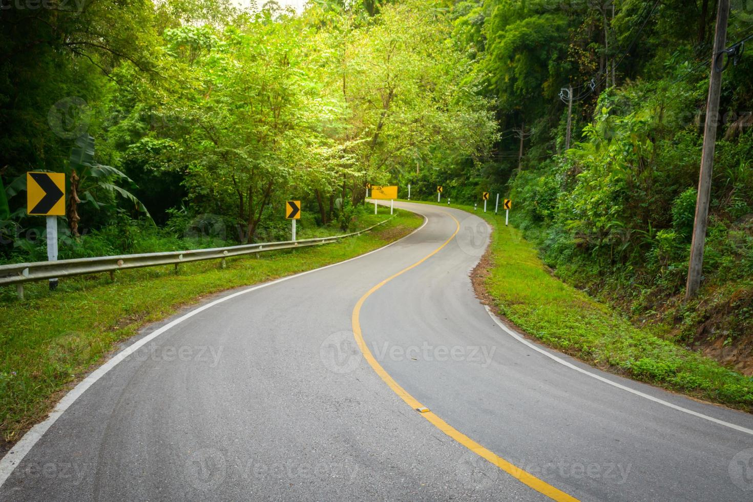 road on mountain in chiangmai northern of thailand photo