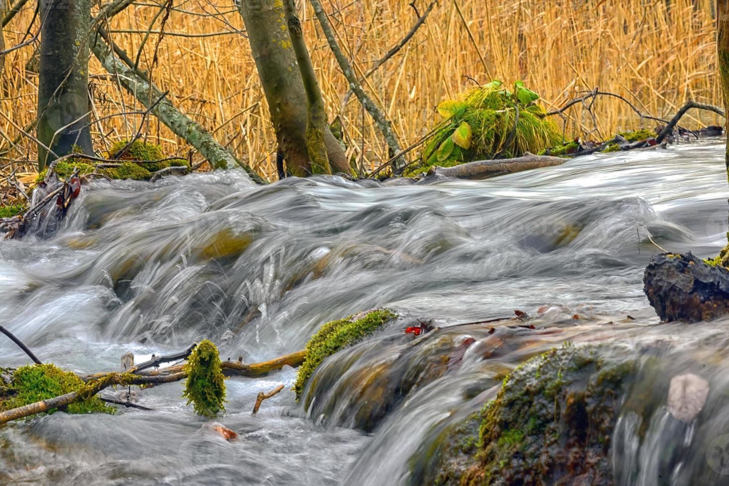 arroyo de montaña rápido que fluye foto