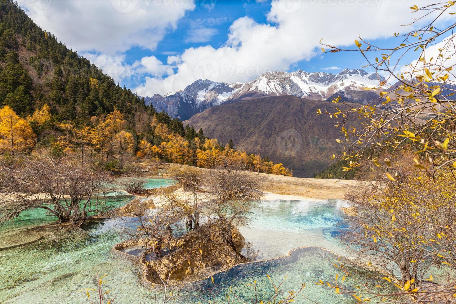 Parque Nacional Huanlong en la provincia de Sichuan, China foto