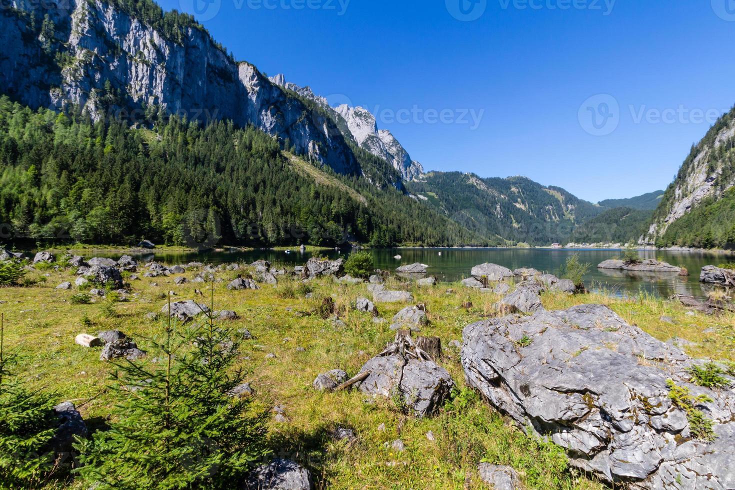 Landscape of mountains and lake, Gosausee lake, Alps, Austria, Europe. photo