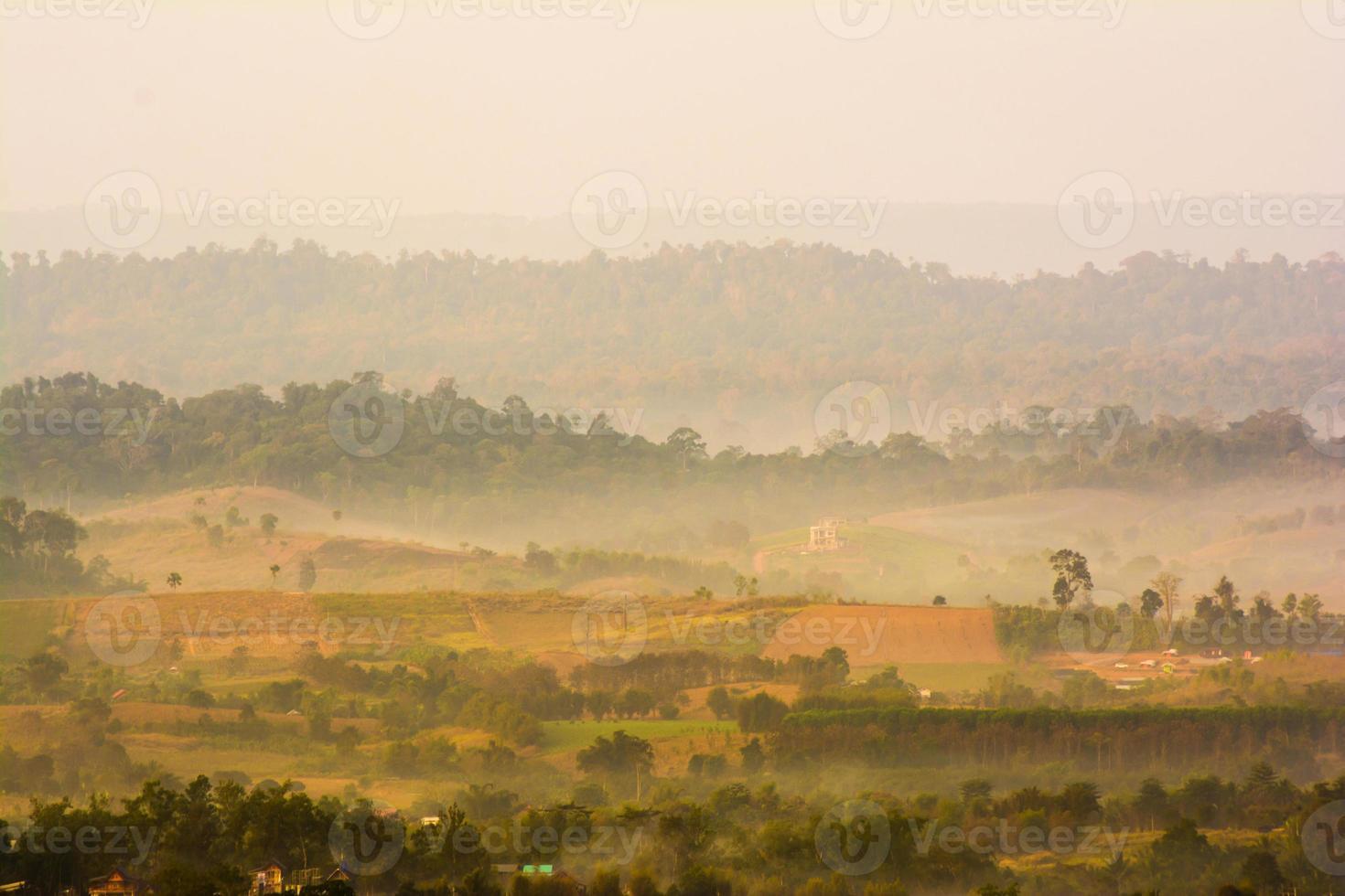 colinas en la niebla. paisaje de la mañana foto