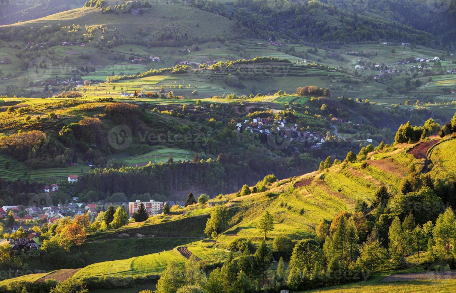 Summer landscape with village, Slovakia photo