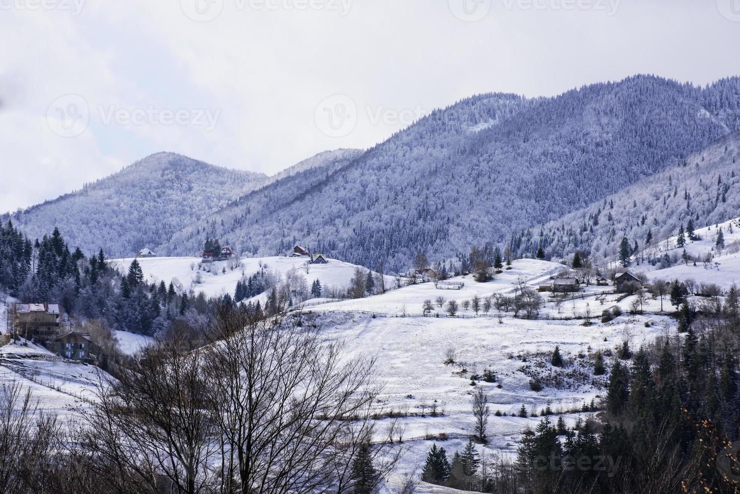 Winter landscape in a romanian village - Magura photo