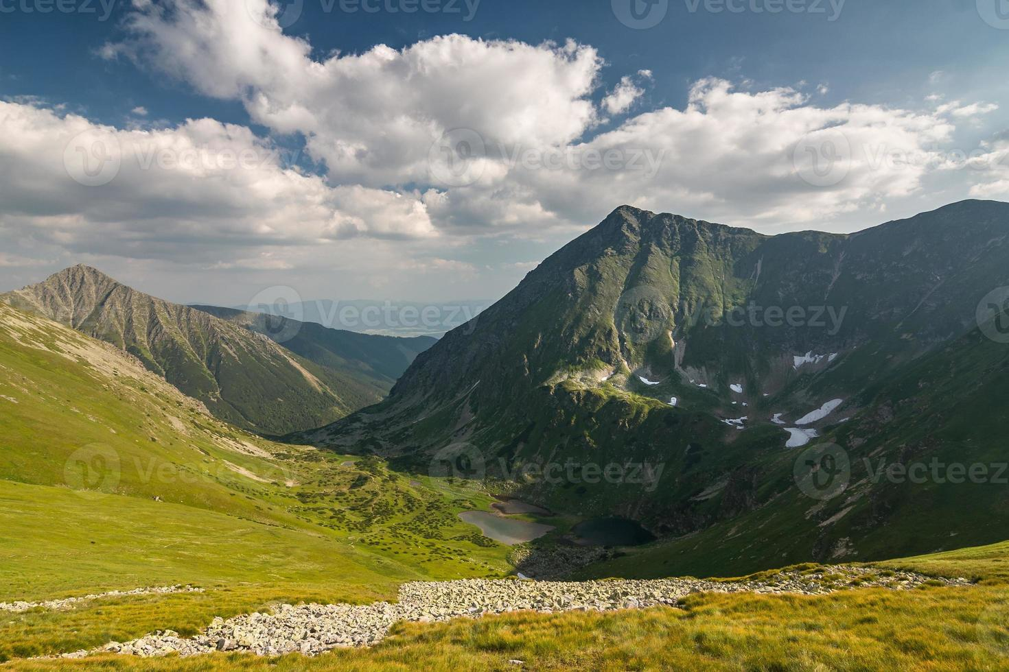 Wonderful valley in summer mountains with lakes photo