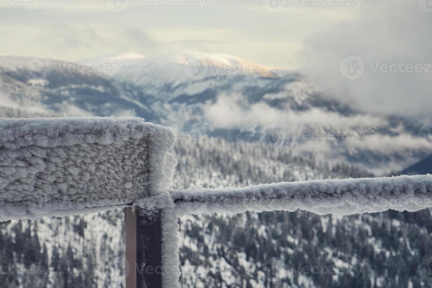 Frozen balcony railing photo