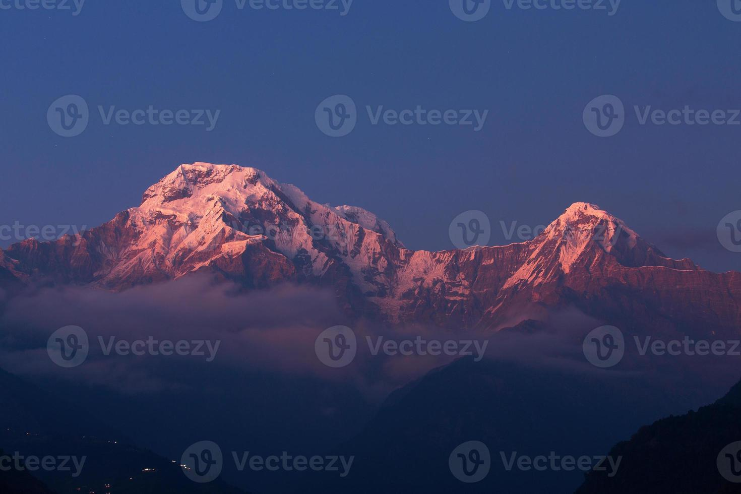 Annapurna I Himalaya Mountains in Nepal at sunrise photo