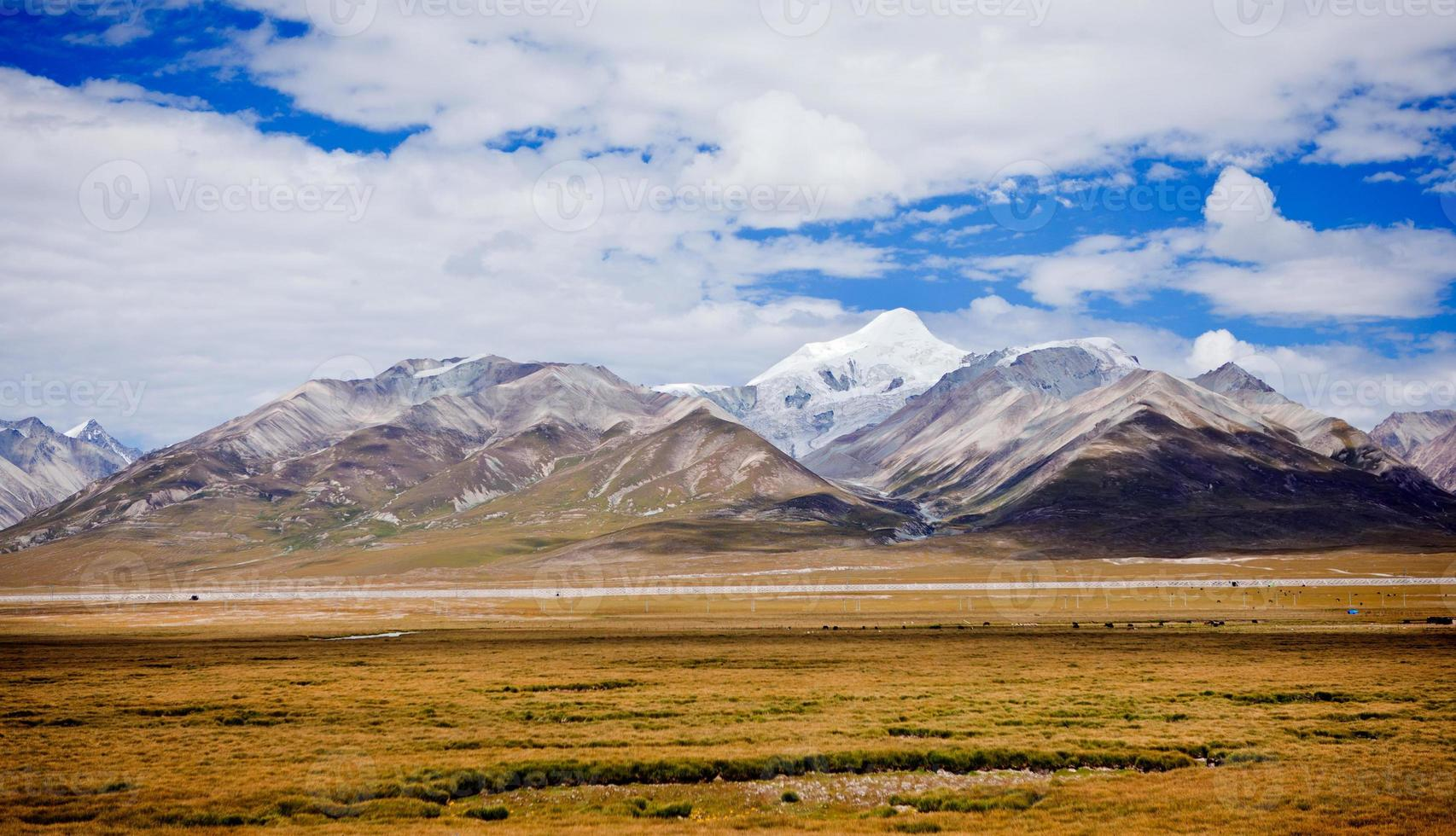 prairie and snow moutain at tibet,china. photo