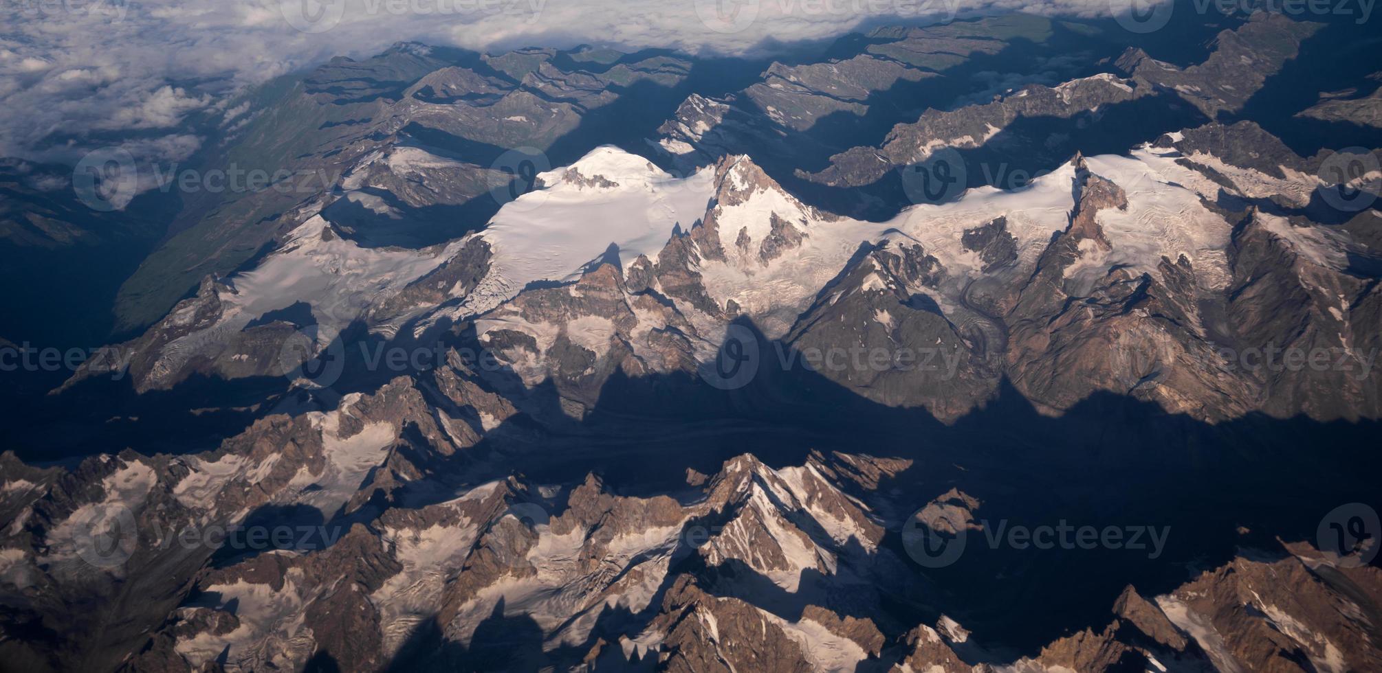 Snow mountain aerial view photo