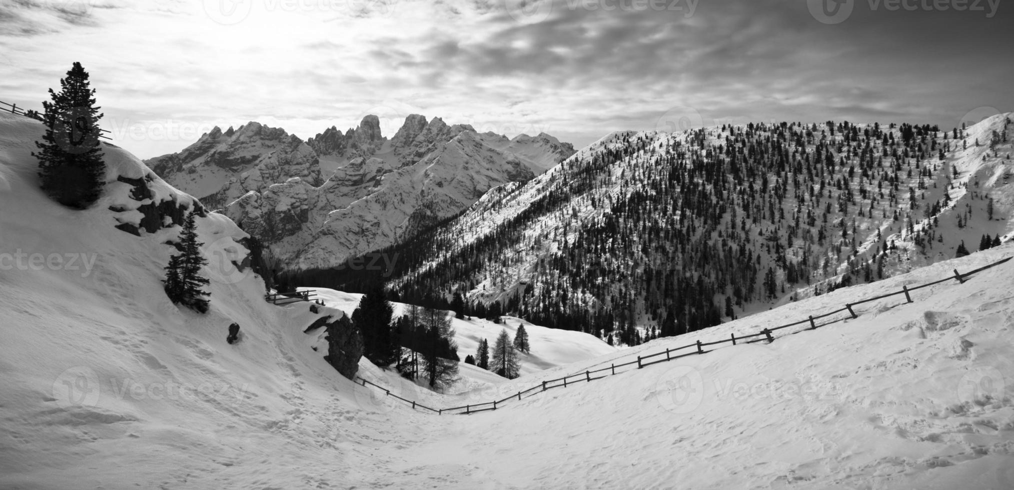 Panoramic view of the Dolomites photo