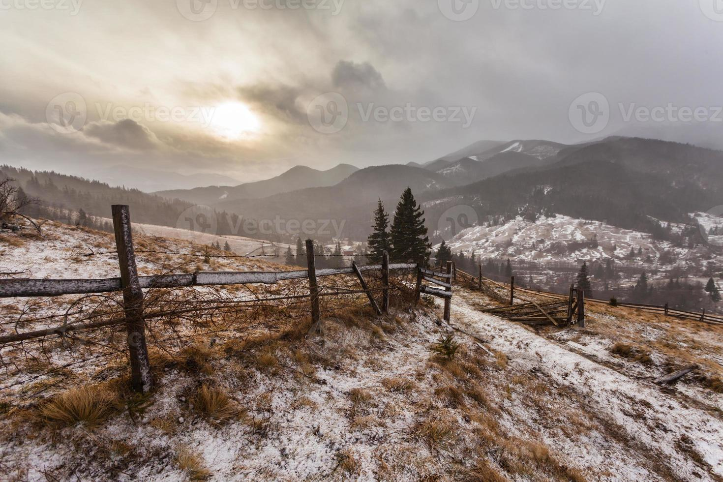 Snowy mountains before storm. photo