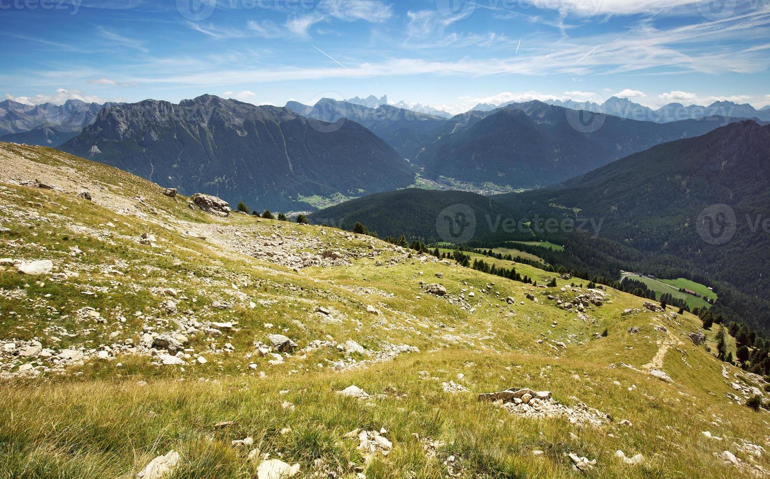 alpine meadow with panoramic view of the Dolomites photo