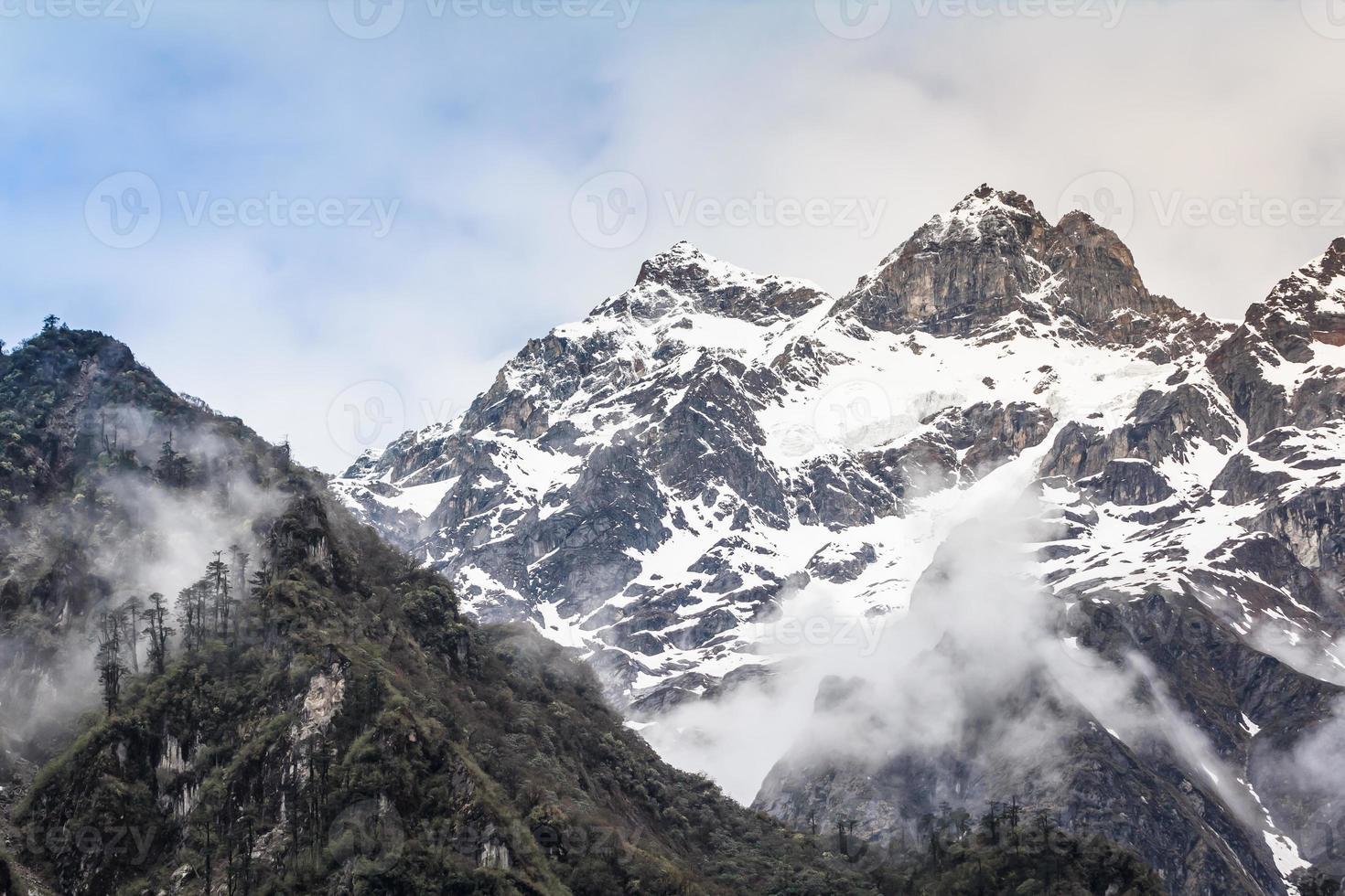 Snow mountain with fog , Lachen North Sikkim India photo