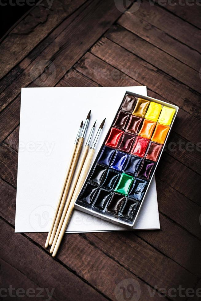 Art tools - Colorful Aquarelle paints in a box. Watercolor photo