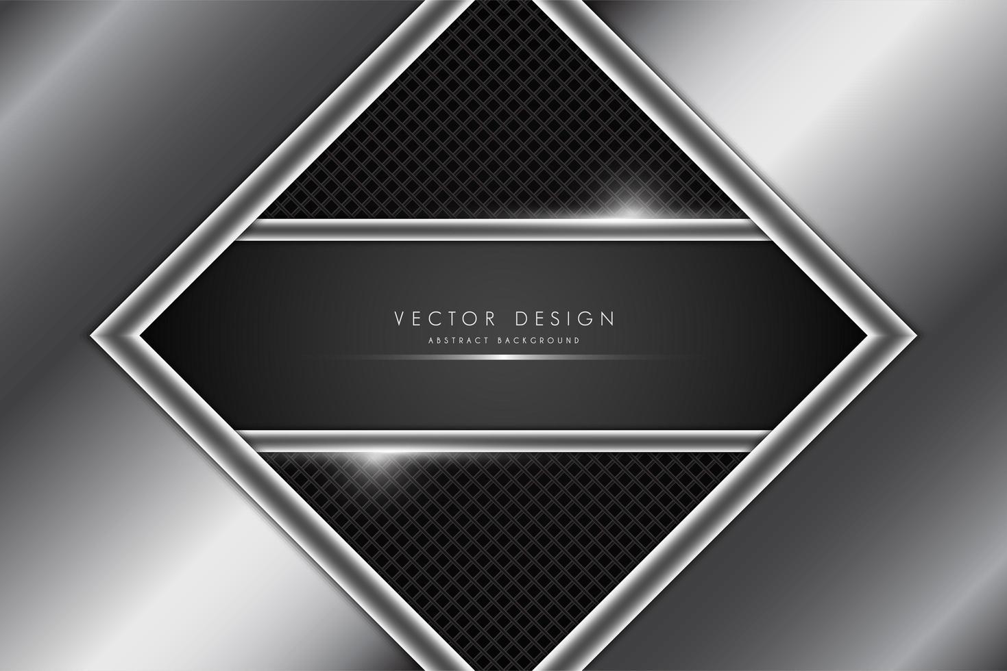 Metallic gray and silver diamond frame vector