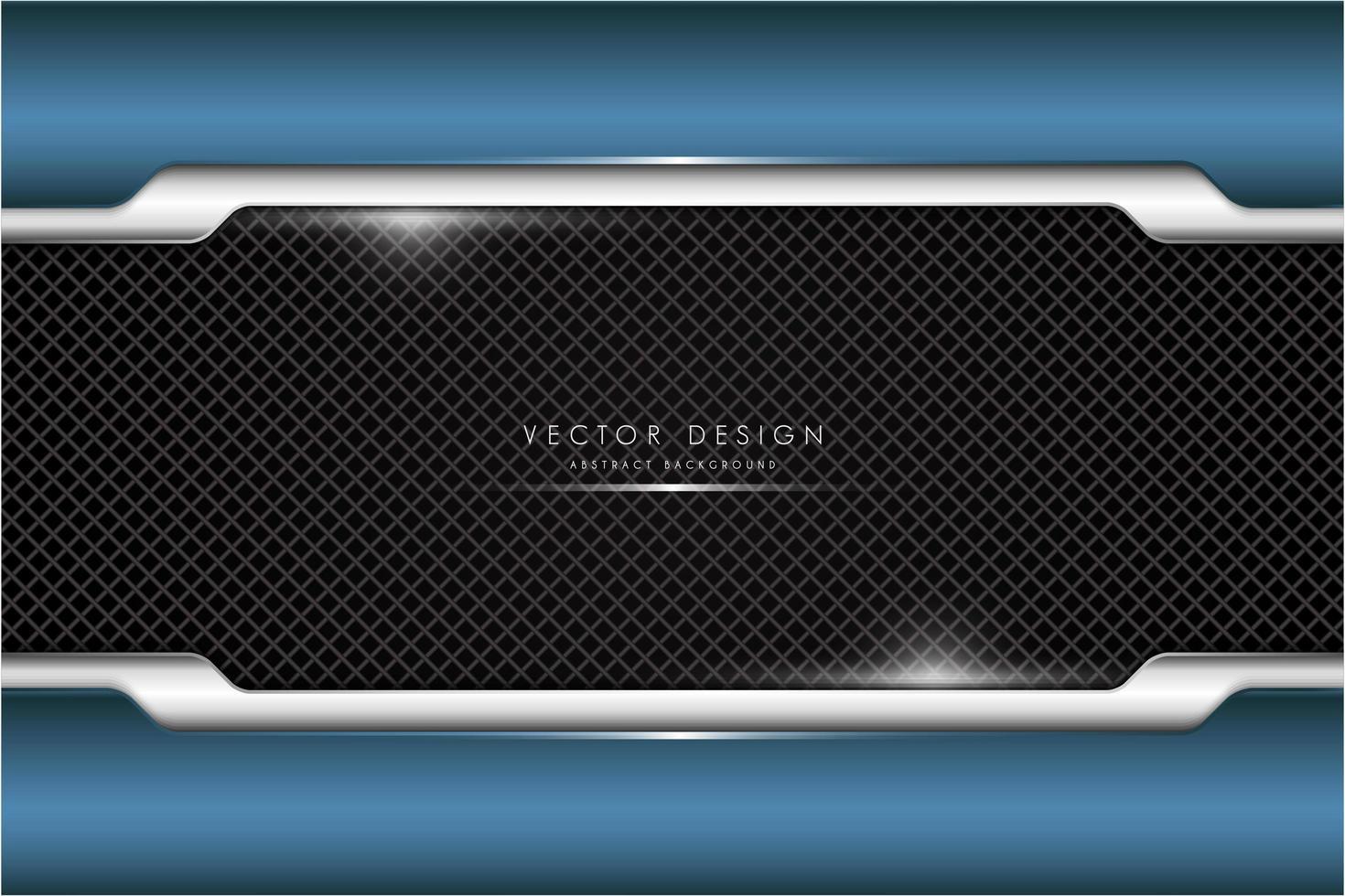 Marco metálico azul y plateado sobre patrón de diamante. vector