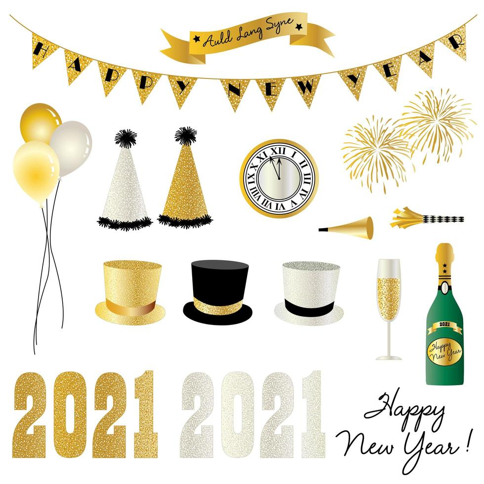 2021 new year's eve celebration graphics vector