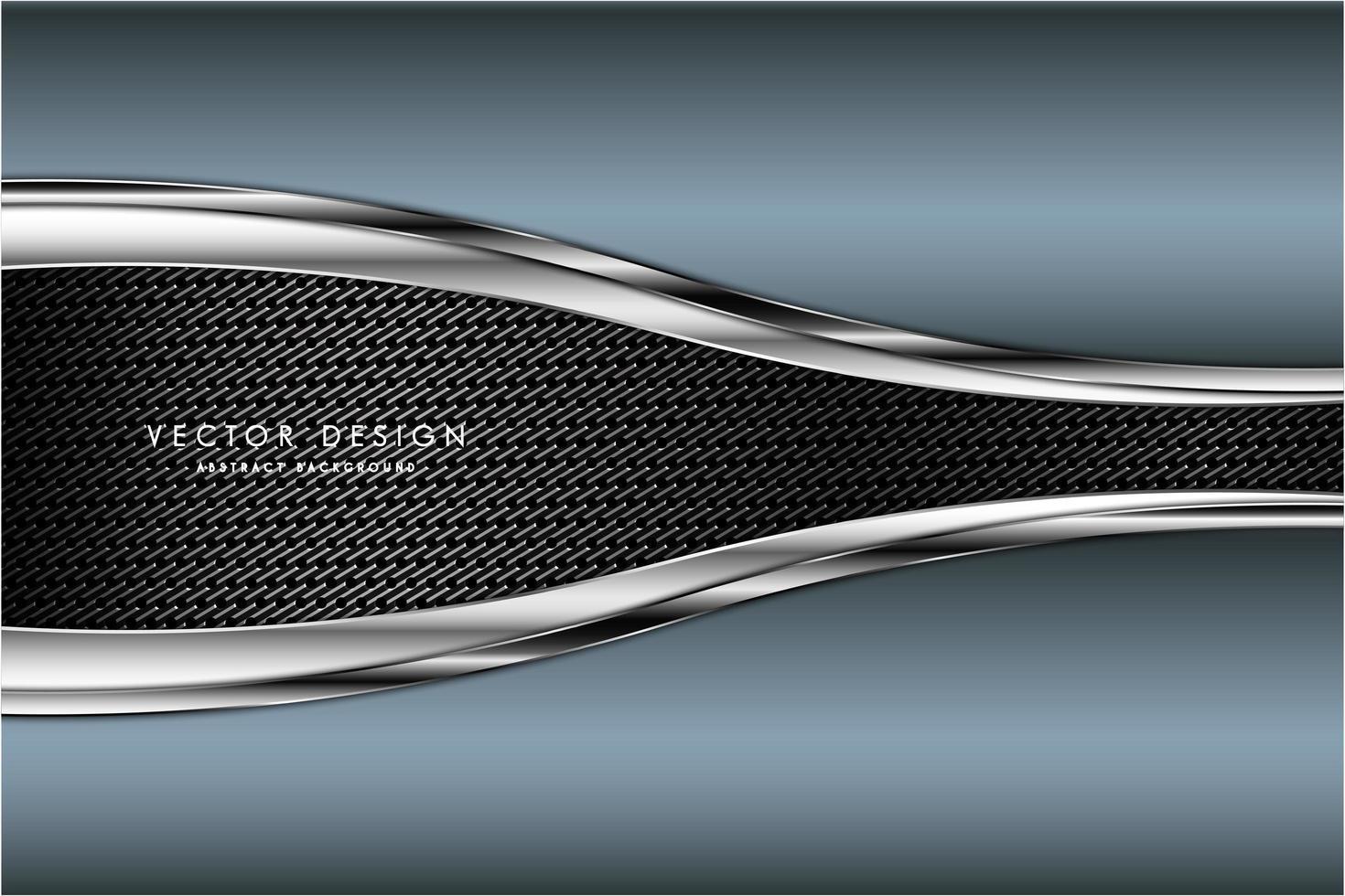Paneles metálicos azules y plateados sobre textura de fibra de carbono vector