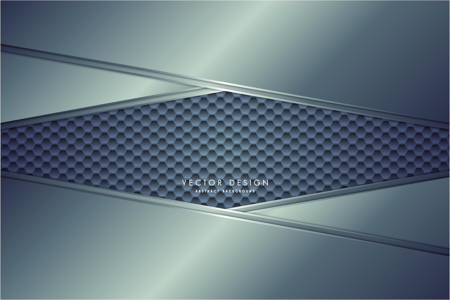 Paneles en ángulo azul metálico sobre textura hexagonal vector