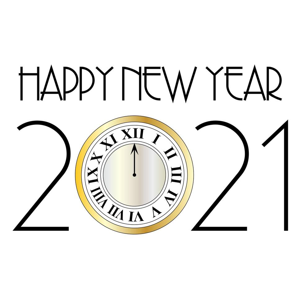 Happy New Year 2021 Design With Gold Clock Download Free Vectors Clipart Graphics Vector Art