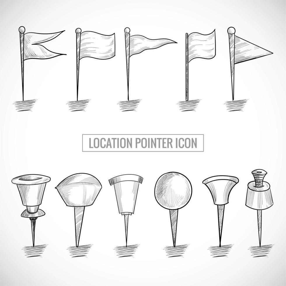Hand drawn location pointer sketch set vector