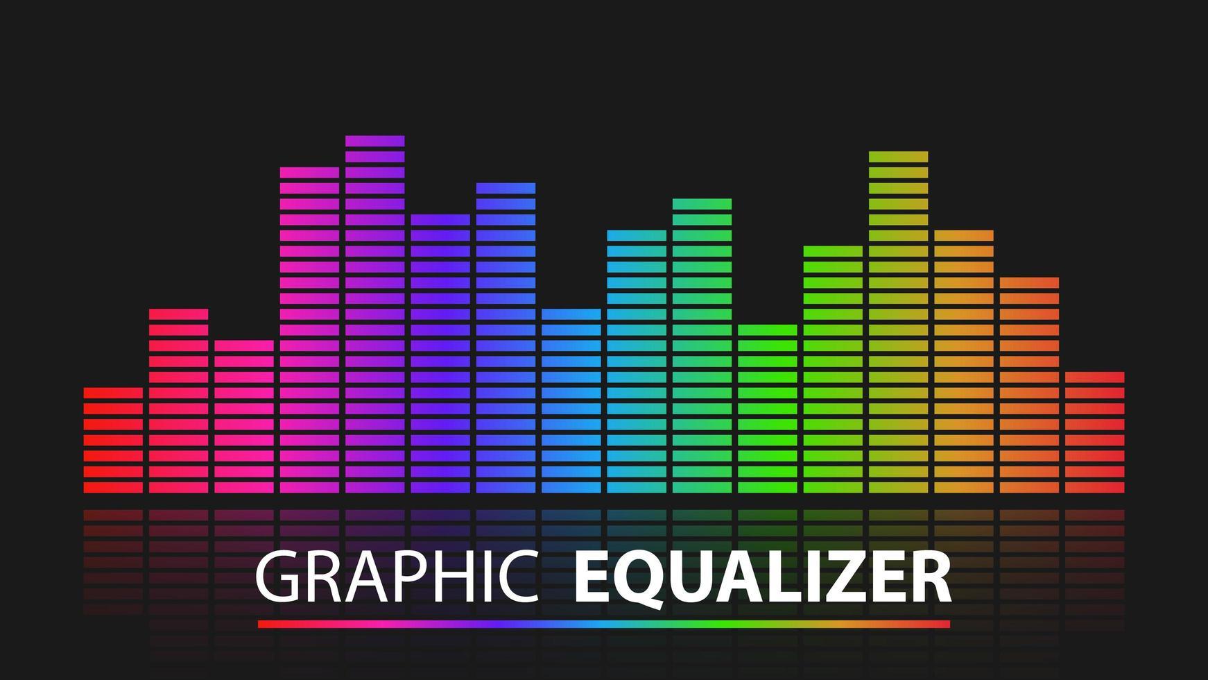 ecualizador gráfico colorido con reflejo vector