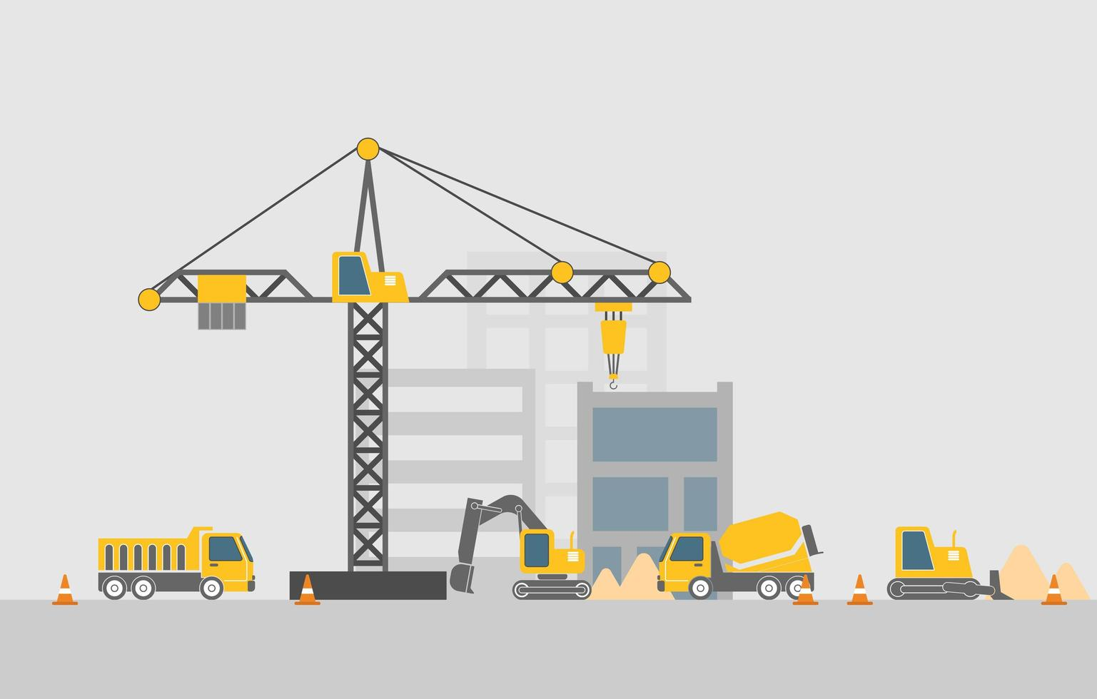 Construction site with construction machines flat design vector