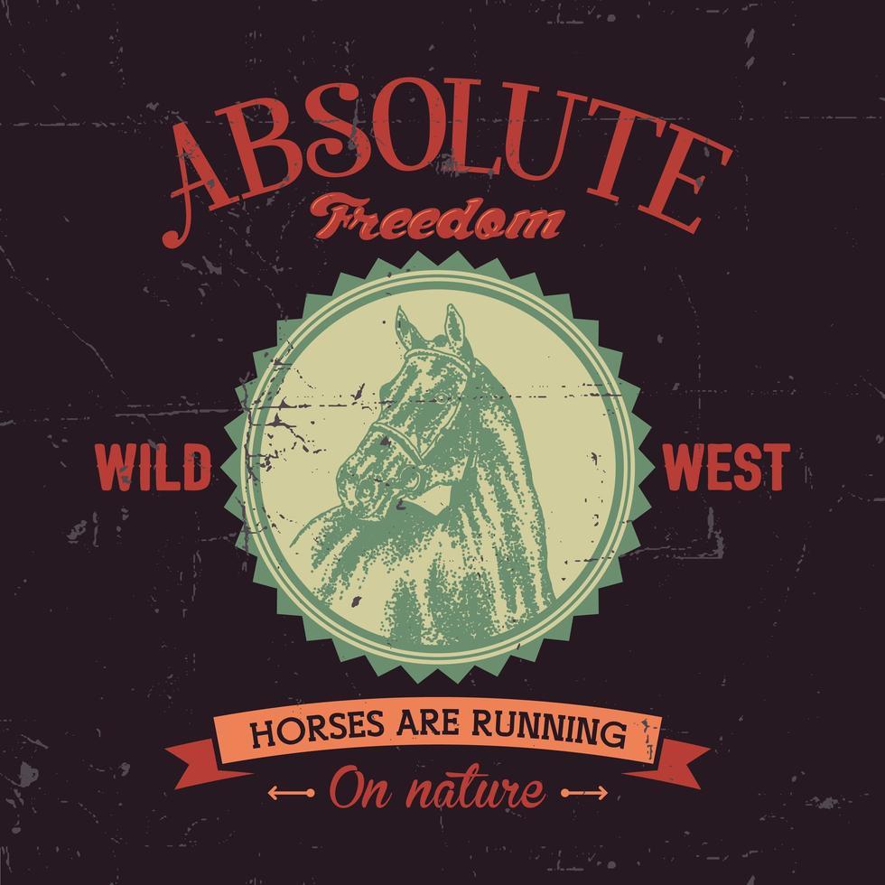 diseño de camiseta de emblema de caballo de libertad absoluta vector