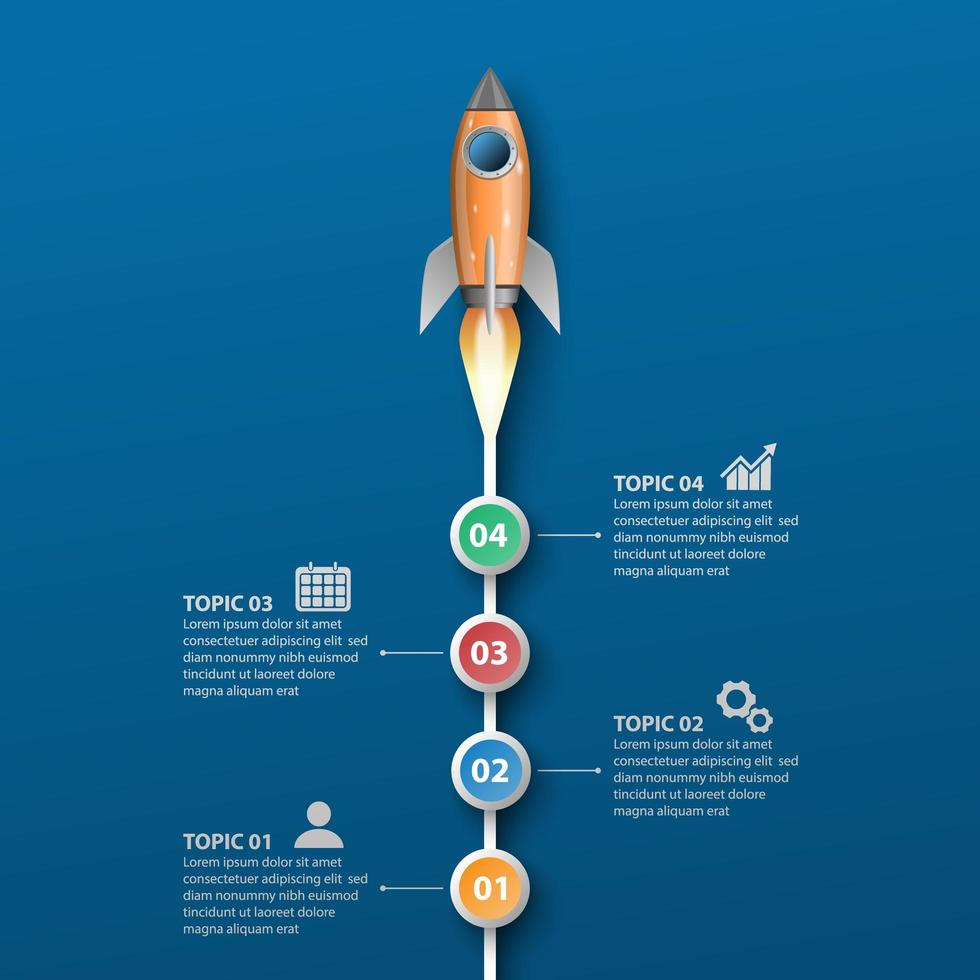 Rocket launch infographic template vector