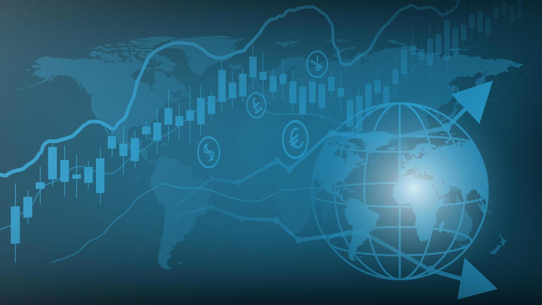 Trading financial business graph chart background vector