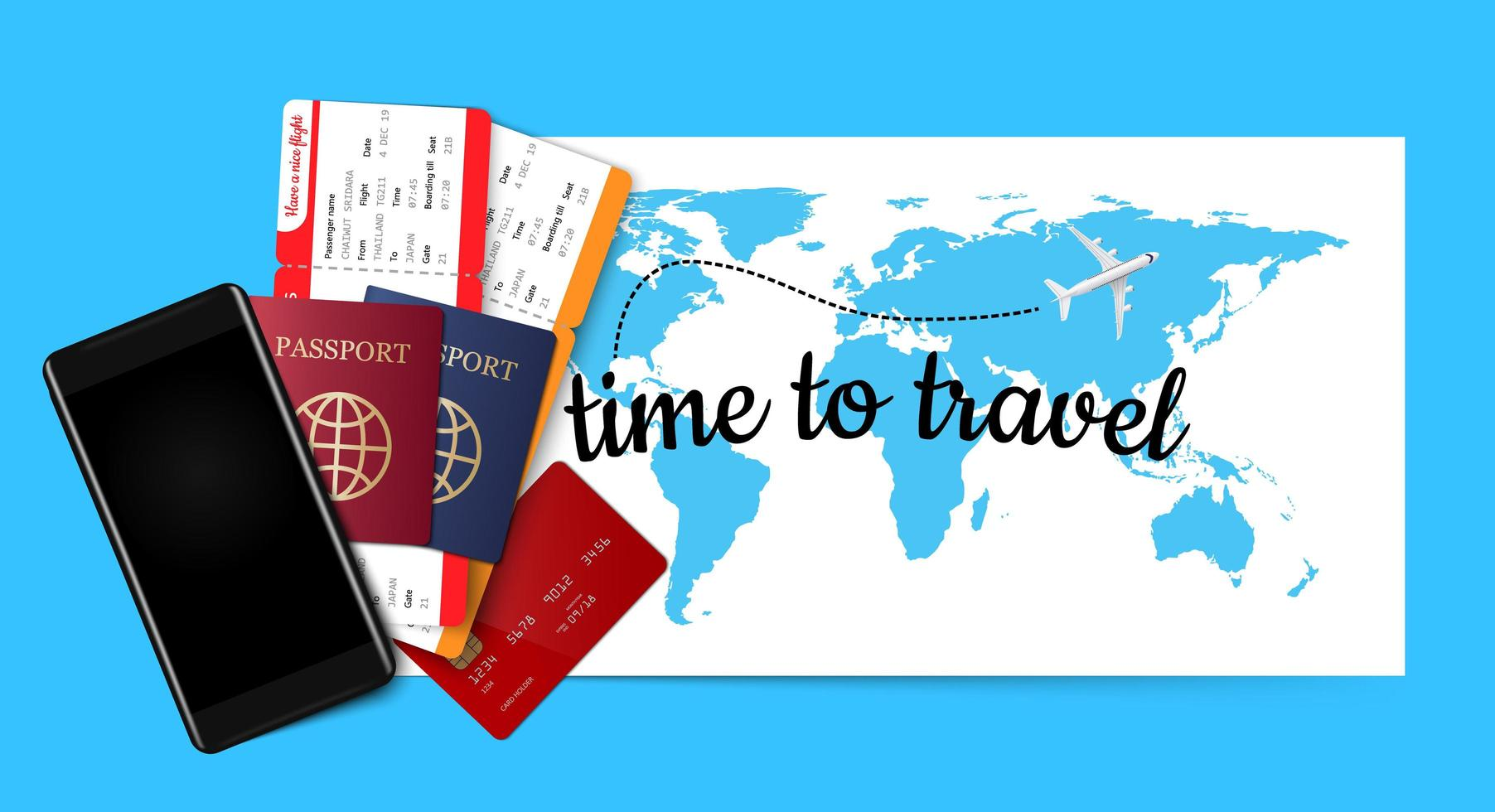 pasaporte, boletos, tarjeta de crédito y teléfono inteligente en el mapa azul vector