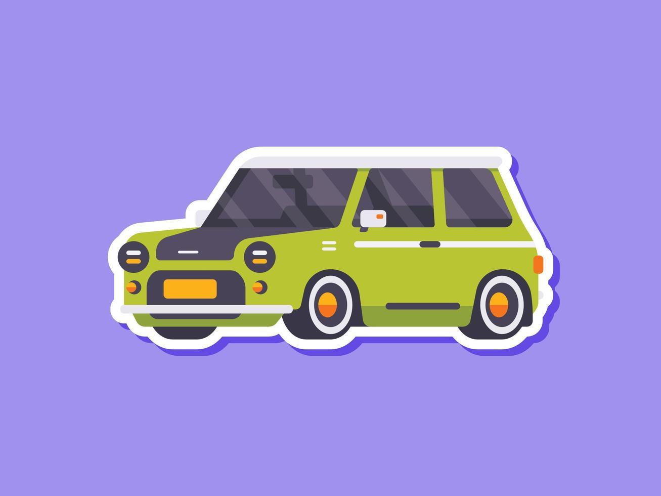 mini adhesivo para coche clásico de estilo plano vector