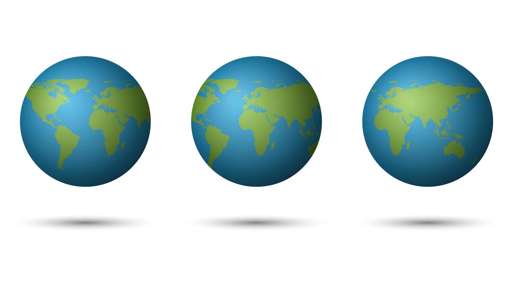 3d conjunto de planeta tierra flotante vector