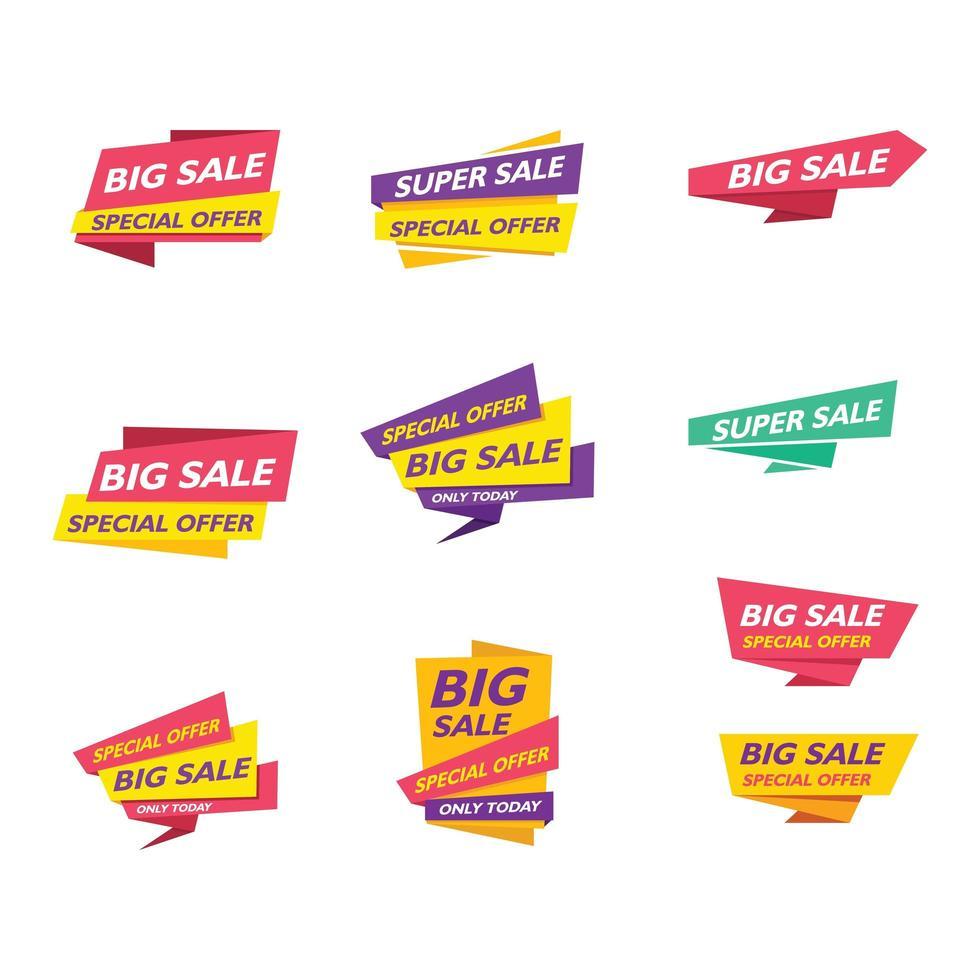 colección de banner de venta de cinta abstracta vector