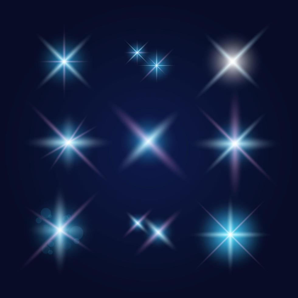 destellos de lente y efectos de iluminación establecidos vector