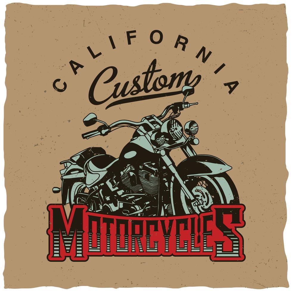 diseño de camiseta de motocicletas personalizadas de california vector