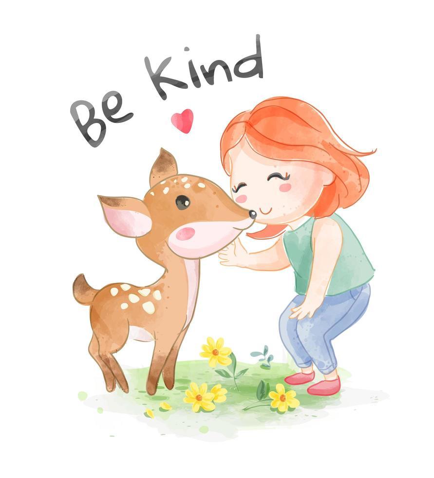 Sea amable lema con niña de dibujos animados con ciervo vector