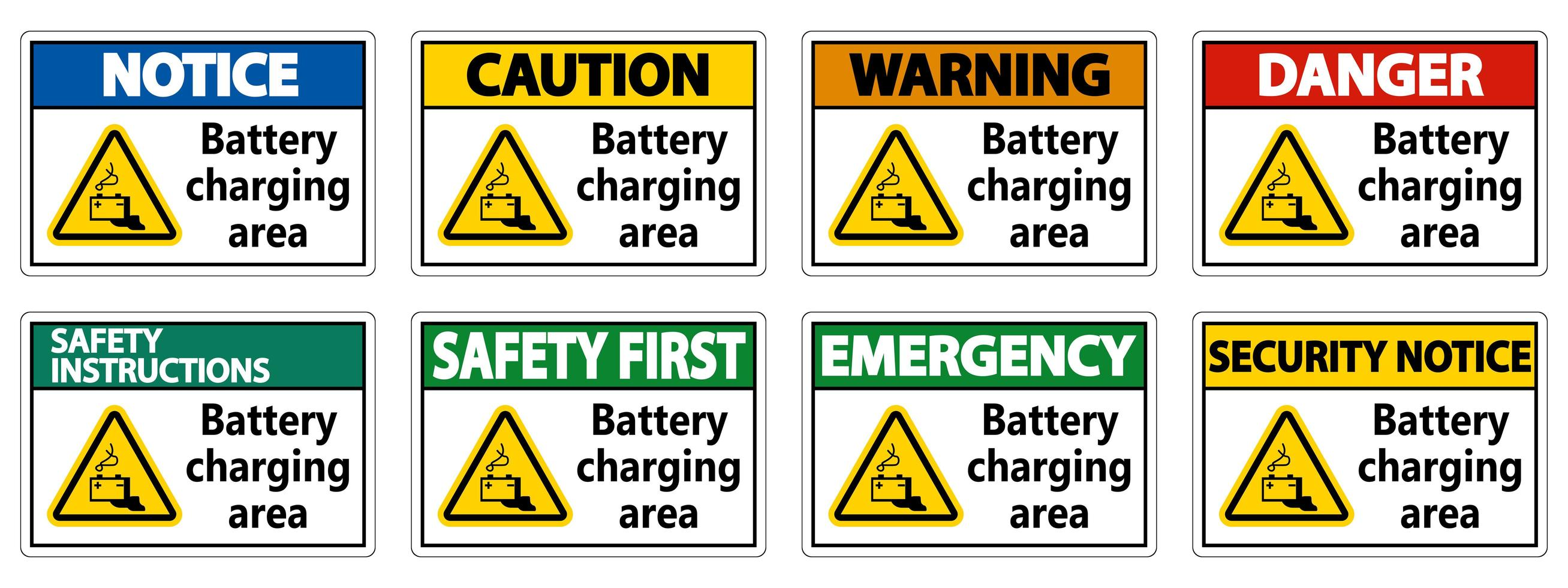 Battery charging area sign set vector
