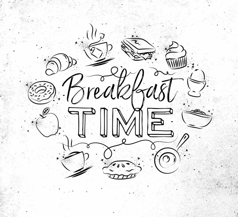 Hora del desayuno firmar en estilo grunge dibujado a mano vector
