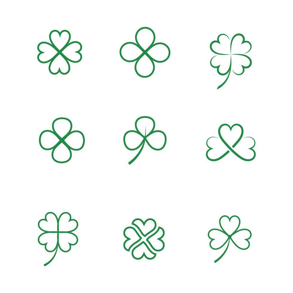 iconos de arte de línea de hoja de trébol verde vector