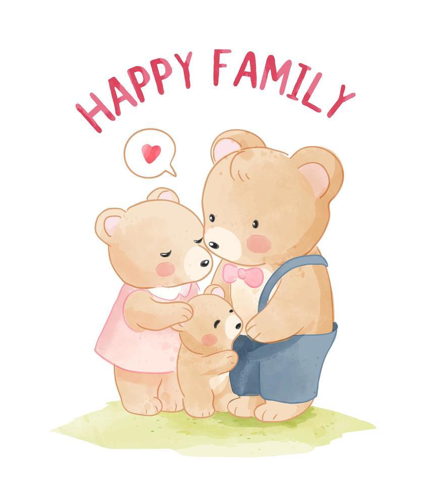 dibujos animados familia oso feliz vector