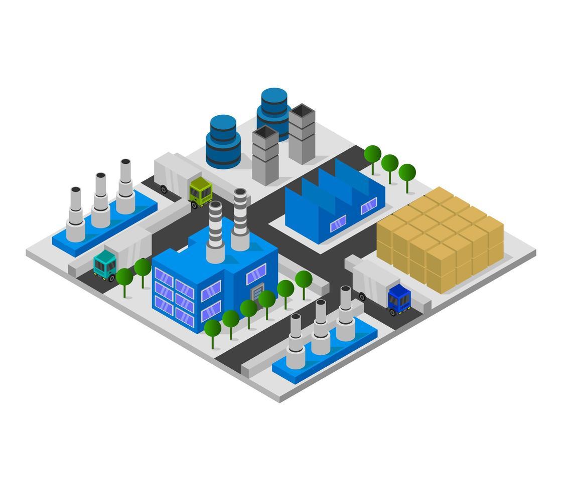 edificios de la industria isométrica en blanco vector