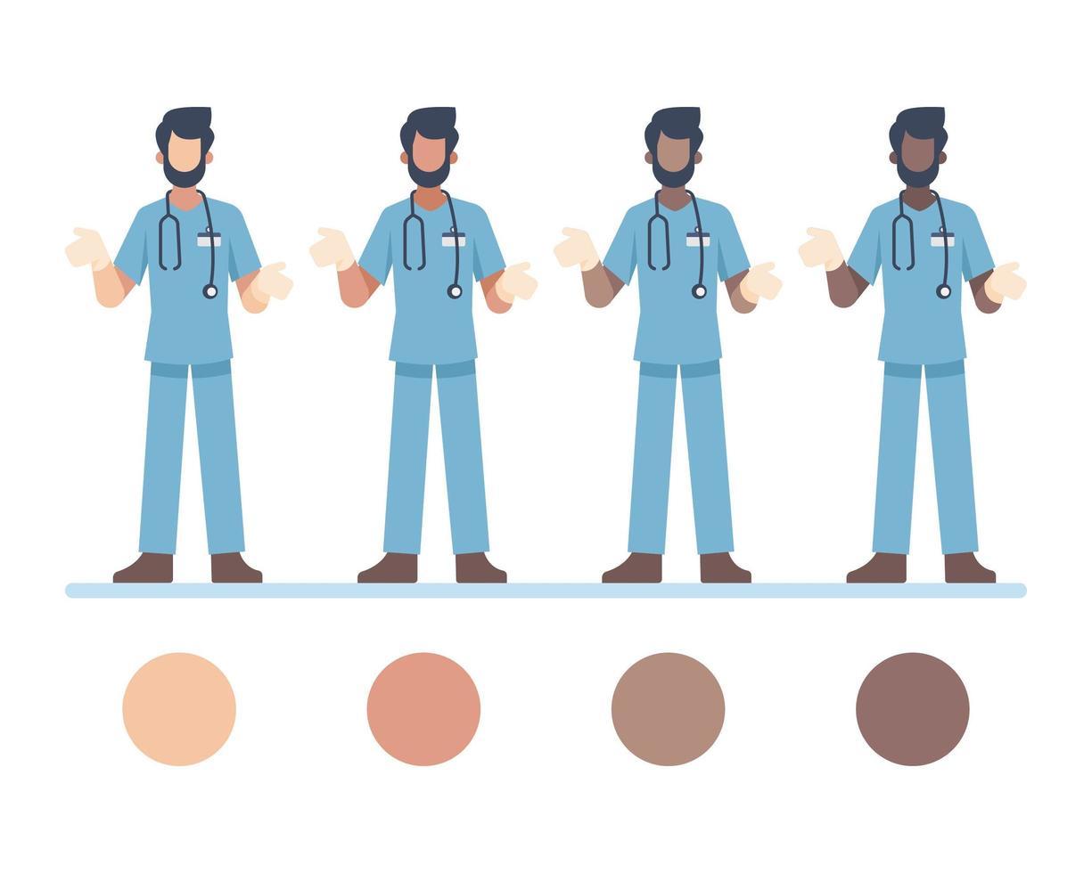 personajes médicos masculinos con estetoscopio vector