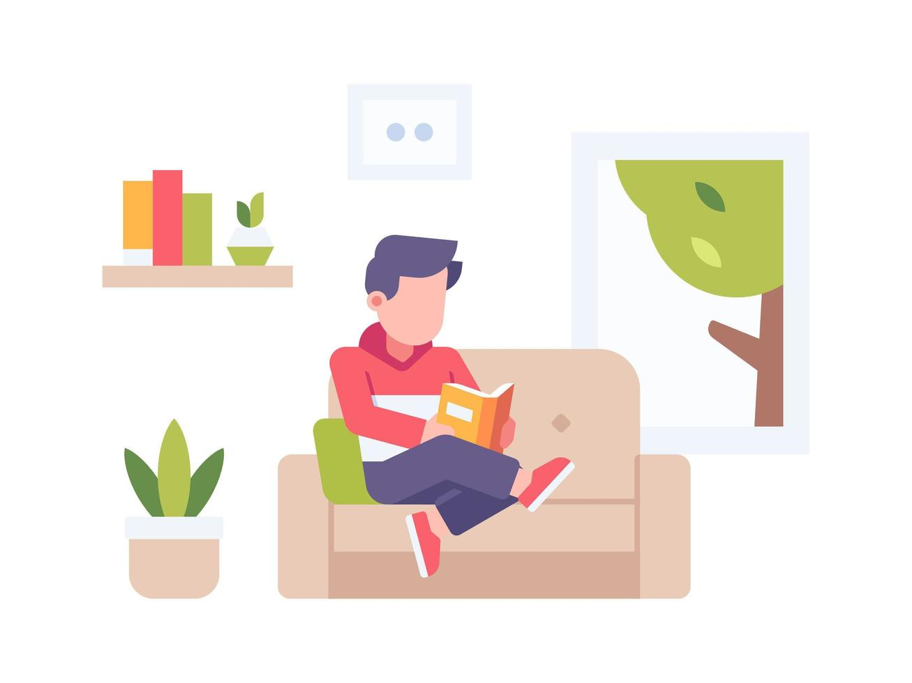 persona leyendo un libro en casa vector