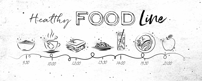 línea de tiempo de comida saludable en estilo dibujado a mano vector