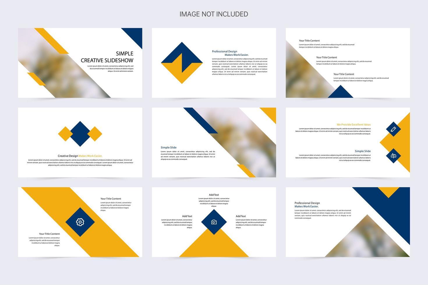 plantilla de diapositiva azul y amarilla creativa simple vector