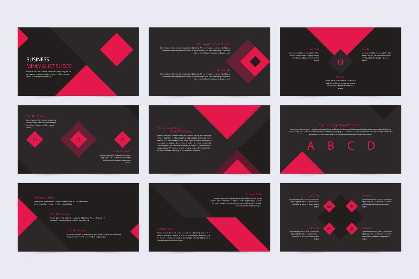 presentación de diapositivas promocional minimalista en negro y rojo vector