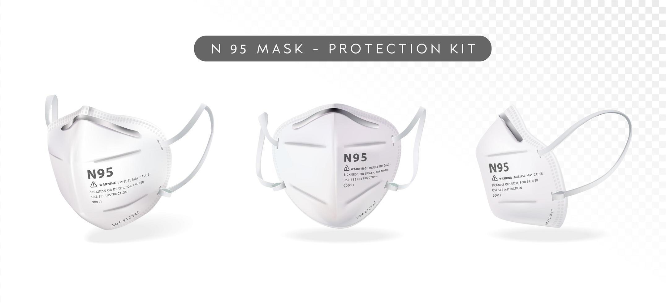 Realistic N95 Mask Set vector