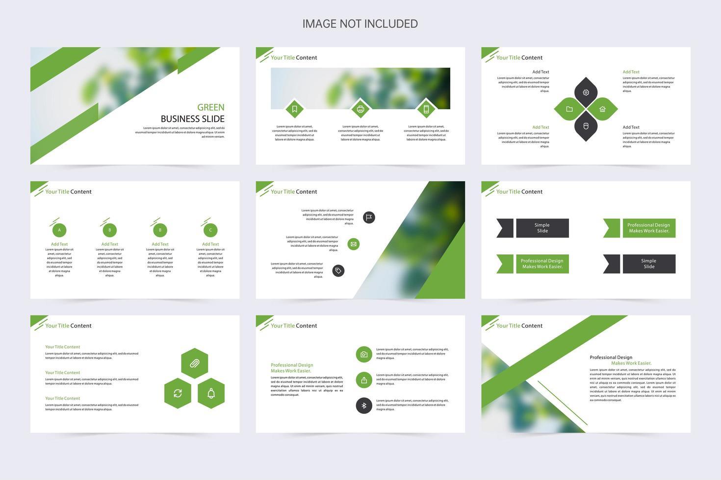 elementos creativos de presentación de diapositivas en verde, blanco y negro vector